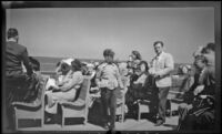 Everett Shaw, Frieda Shaw, Mertie West and others travel aboard a ferry, Santa Catalina Island vicinity, 1948