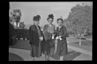 Zetta Witherby, Dode Witherby and Mertie West pose outside the Witherby residence, Los Angeles, 1948
