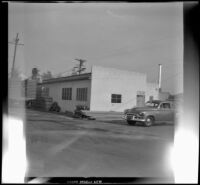 H. H. West Company's warehouse on San Fernando Road, viewed at an angle, Los Angeles, 1953