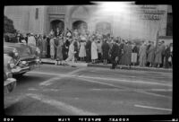 Parishioners wait to enter First Methodist Church of Hollywood for the 11:00 a.m. Easter service, Los Angeles, 1956
