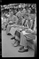 Dorothy Lauterbach, Mertie West and others with a Shriners group at Knott's Berry Farm, Buena Park, 1958