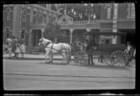 Surrey carriage stopped on Main Street in front of the Fire Department at Disneyland, Anaheim, 1957