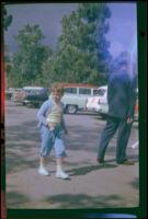 Debbie West in the parking lot at Knott's Berry Farm, Buena park, 1957