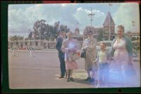 Will Witherby, Mertie West, Dode Witherby, Debbie West and Anna West at Knott's Berry Farm, Buena Park, 1957