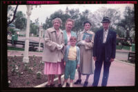 Debbie West, Mertie West, Anna West, Dode Witherby and Will Witherby at Disneyland, Anaheim, 1957