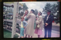 Debbie West, Anna West, Dode Witherby, Mertie West and Will Witherby at Disneyland, Anaheim, 1957