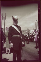 Henry H. West poses in his Knights Templar uniform outside Scottish Rite Cathedral on Easter, Los Angeles, 1942