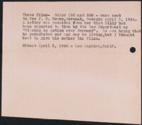 Note about photographs taken by H. H. West of William D. Hearn, an American soldier on furlough in Arizona in 1942