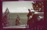 Mertie West looking across Lake Tahoe, 1942