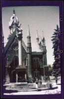 Mertie West at the Sea Gull Monument with the Assembly Hall beyond in Temple Square, Salt Lake City, 1942