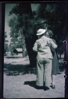 Agnes Whitaker and Maud West hug, Big Bear Lake, 1944