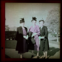 Zetta Witherby, Dode Witherby and Mertie West pose on the Witherbys' front walkway, Los Angeles, [about 1948]