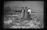 Zetta Witherby, Dode Witherby and Mertie West pose in a field of desert flowers, Indio vicinity, 1949