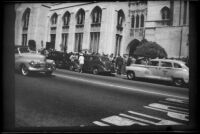Parishioners line up outside First Methodist Church of Hollywood, Los Angeles, 1949