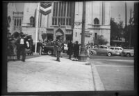 Parishioners crowd outside First Methodist Church of Hollywood, Los Angeles, 1949