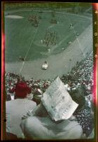 Shriners Temples parade into Los Angeles Memorial Coliseum, Los Angeles, 1950