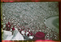 Shriners fill the stands of Los Angeles Memorial Stadium, Los Angeles, 1950