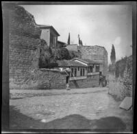 Houses between old walls in a town, Bursa (perhaps), Turkey, 1895