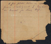 Note accompanying negatives for photographs taken by William Lewis Sachtleben during his trip to Turkey to search for missing cyclist Frank Lenz, 1895