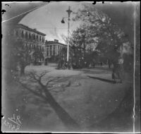 Street scene with trees down the center of the street, Asia, 1891