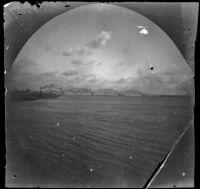 Truss bridge across a large body of water, Asia, 1891
