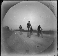 Four men riding bicycles, Athens or Turkey, 1891