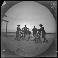 William Sachtleben and Thomas Gaskell Allen Jr. pose with their bicycles, a seated wman and 2 men, Asia, 1891