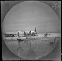 White landscape with men around cart or flatbed loaded with white mounds (salt?), Asia, 1891