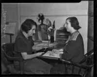 Mrs. Beatrice Carson and Miss Sarah Robin at the Braille Institute of America, Los Angeles, 1936