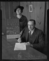 Mayor Richard Schulz signs a proclamation for National Business Women's Week with businesswoman Lutie D. Woodfill, Huntington Park, 1936