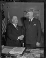 Mayor Frank Shaw welcomes J. Ray Murphy, Los Angeles, 1936