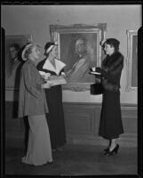 Arlis Cowan, Florence Slocum and Dorothy Daum admire an exhibit at the Los Angeles Museum, Los Angeles, 1936