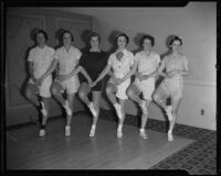 Junior League members Gabrielle Wright, Peggy Morris, Elizabeth Anne Fullerton, Hortense Cunningham, Helen Sterling, and Gwenllian Hamblin rehearse their dance moves, Pasadena, 1936