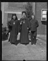 Rev. Germanos Papanagiotou, Archbishop Athenagoras, and Rev. Nicodemos, Los Angeles, 1936