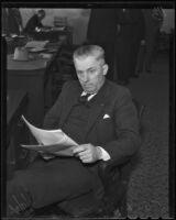 Clerk J. S. Lester is accused of theft, Santa Monica, 1936