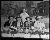 Clubwomen Nancy Wing Owens, Lotta James, Mrs. C. E. Brown, Mildred Cossar, Effie Austin, Los Angeles County, 1936