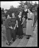 Clubwomen Aleta Block, Helen Chambers, Joan Harrigan, Dorothy Kersten, and Gladys Williams, Los Angeles, 1936