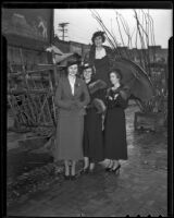 Eleanor Devin, Rose Marie Sheran, Virginia Smith, and Kathryn MacKechnie meet for a luncheon, Los Angeles, 1936