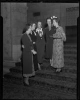Daughters of the American Revolution Jane Day, Anne Worthington, Mrs. Donald C. Campbell, Mrs. Richard S. Murray, and Amelia Hughes, Los Angeles, 1936