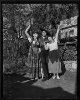 Alice Sanceda, Carlos Figueroa and Bertha Perez celebrate, Olvera Street, Los Angeles, 1936