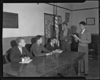 John Wolf, Russell Conklin, Woodrow Young, John Doe, and Merle Sutton attend to their own justice, Chino, 1935-1936