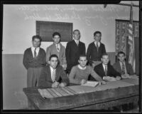 Herbert Hawkins, Merle Sutton, Woodrow Young, De Arth Bullock, Gus Copulan, Linden Skundberg, Winston Bullock, and Woodrow Hewitt at the California Junior Republic, Chino, 1935-1936