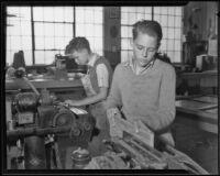 California Junior Republic students Robert Davidson and Alton Williams work, Chino, 1935-1936