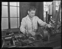 Keith Elliot practices his vocation at the California Junior Republic, Chino, 1935-1936
