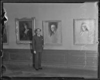 Dr. Rudolphe Kiss poses with his work, Exposition Park, Los Angeles, 1936