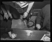 Man Mountain Dean loses wrestling match against Vincent Lopez, Los Angeles, 1936
