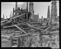 Wreckage of an oil derrick after a storm, Signal Hill, 1936