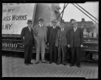 Nat Hudson, F. G. Pease, Fred Phillips, R. A. Podlech, and H. A. Sugar with giant lens, San Bernardino, 1936