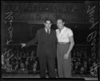 Fighter Vincent Lopez and Max Baer in the ring, Los Angeles, 1936