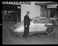 Dr. Calvin B. Bridges with his newly designed automobile, Pasadena, 1936